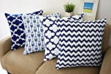 Blue and White Howarmer Square Cotton Canvas Decorative Throw Pillows Cover Set of 4 Accent Pattern - Navy Blue Quatrefoil, Navy Blue Arrow, Chevron Cover Set 18'x 18'
