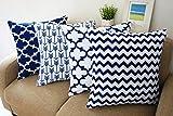 Blue and White Howarmer Square Cotton Canvas Decorative Throw Pillows Cover Set of 4 Accent Pattern - Navy Blue Quatrefoil, Navy Blue Arrow, Chevron Cover Set 18'x 18'