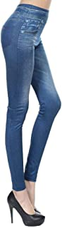 X&W Blue Jean Leggings for Women with Pockets, Seamless Skinny Jegging Tights Pants