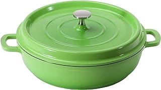 GET Heiss Lightweight Cast Aluminum Braiser Pan/Casserole Dish, 4.5 Quart, Green (CA-008-G/BK)