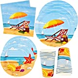 Beach Summer Party Supplies Tableware Set 24 9' Plates 24 7' Plate 24 9 Oz Cups 50 Lunch Napkins Pool Luau Flip Flop Water Sand Sea Shell Disposable Paper Goods for Bridal Baby Shower Birthday Parties