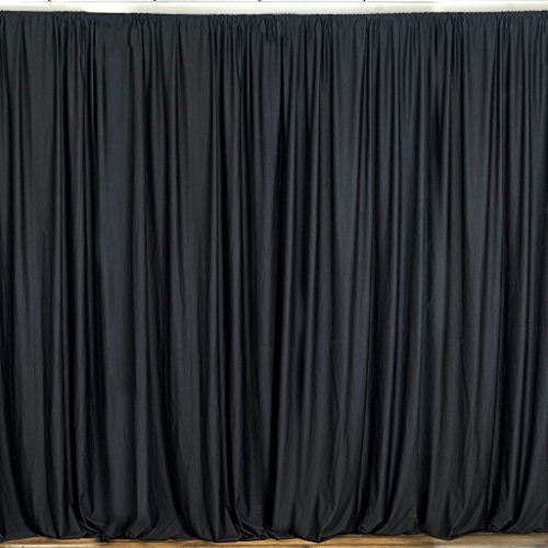 lovemyfabric 100% Polyester Window Curtain/Stage Backdrop Curtain/Photography Backdrop 58' Inch X 108' Inch (2, Black)