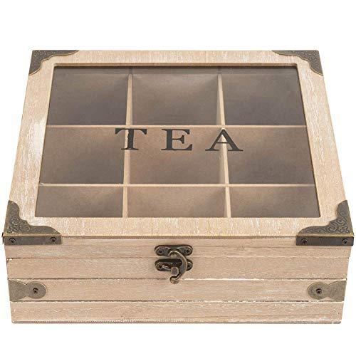 Aufbewahrungsbox für Teebeutel aus Holz mit Deckel und Riegel
