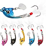 Sougayilang Jigs Fishing Lures Sinking Metal Spinner Bait Micro Jigging Bait-E-2.56in/0.42oz-5PCS with Box