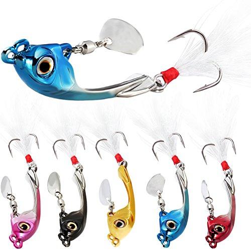 """Sougayilang Jigs Señuelos de pesca hundimiento Metal Spinner Bait Micro Jigging Bait-E-2.5""""/4.7-oz 5PCS con caja"""