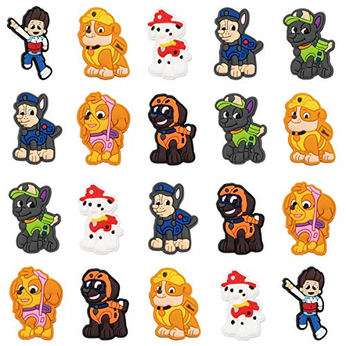 CY2SIDE 20PCS Paw Dog Patrol Shoe Charm for Kids, Dog Shoe Decoration Charm for Crocs, Bracelet Wristband Charms for Toddlers, Clog Decor for Boys Girls Slip-On, Shoe Decor for Paw Dog Party Favors