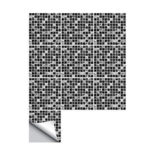 Pegatinas de Azulejos 3D Autoadhesivo Impermeable Etiqueta de La Pared Mármol Negro Mosaico Wallpaper Arte para Baño Cocina Piso Muebles de Pared Decoración para el hogar