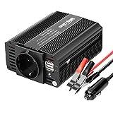 Bapdas 300W Inversor de Corriente, DC 12V, 220V-240V AC Salida, Dual Puertos USB 5V/2.1A