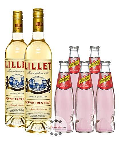 Lillet Wild Berry Set: 2 x Lillet Blanc (17% Vol, 0,75 L) + 5 x Schweppes Wild Berry (0,2 L, inkl. 0,50€ Pfand)