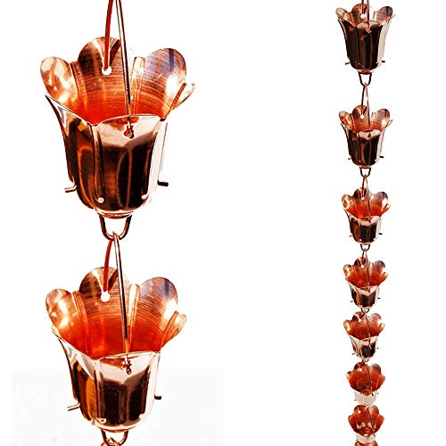Stanwood Rain Chain Tulip Flower Blossom Copper Rain Chain, 8-Feet