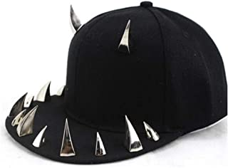 Hats Unisex Punk Baseball Cap Cotton Rivet Handmade Baseball Cap Fashion (Color : Silver, Size : 56-60CM)