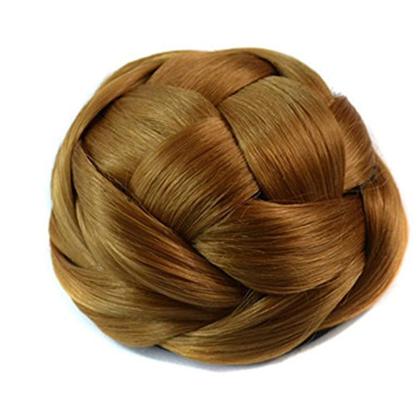 トランクいたずらな切るJIANFU 自然なヘアバンエクステンション - レトロウィッグボールヘッドブライダルメイクアップヘア (Color : 金色)