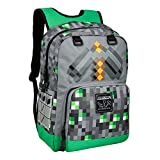 JINX Minecraft Emerald Survivalist Kids School Backpack, Green, 17'