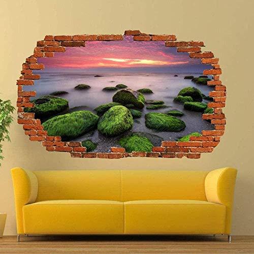 UYEDSR Pegatinas de Pared Ocean Sunset Belleza Natural Etiqueta de la Pared 3D Arte Mural Oficina decoración del hogar 50x70cm