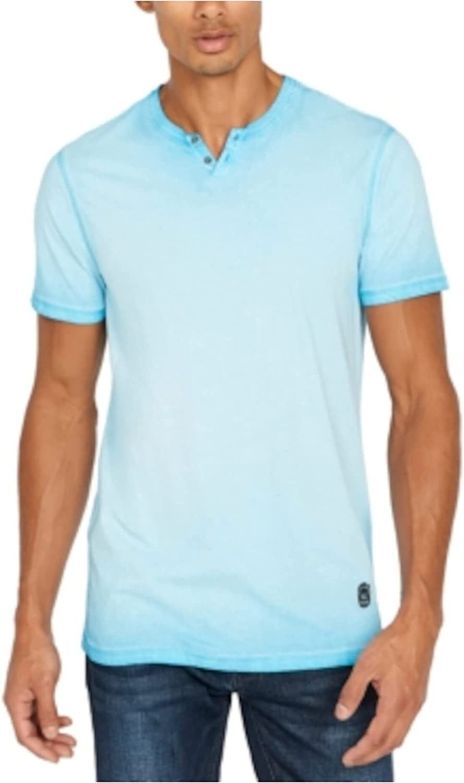 BUFFALO Mens Blue Acid Wash Short Sleeve Classic Fit Henley Shirt S