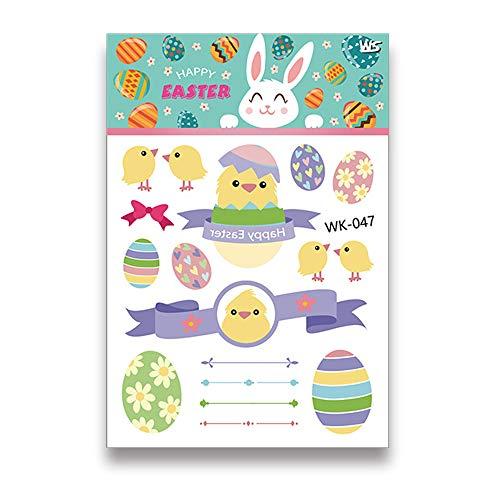Kitchen-dream Tatouage d'oeufs colorés de dessin animé de Pâques - autocollants de tatouage Pâques créatif autocollants imperméables à l'eau drôle autocollant de décor de corps (WK-047)