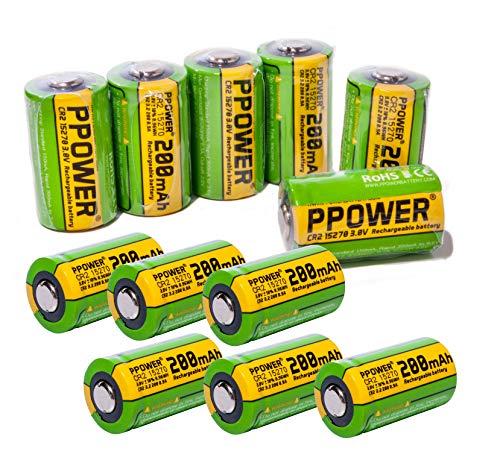 12X PPOWER 3V Capacità Reale 200 mAh CR2 15270 15266 Ricaricabile LiFePO4 Batterie per fotocamera Polarida, Bushnell golf telemetro