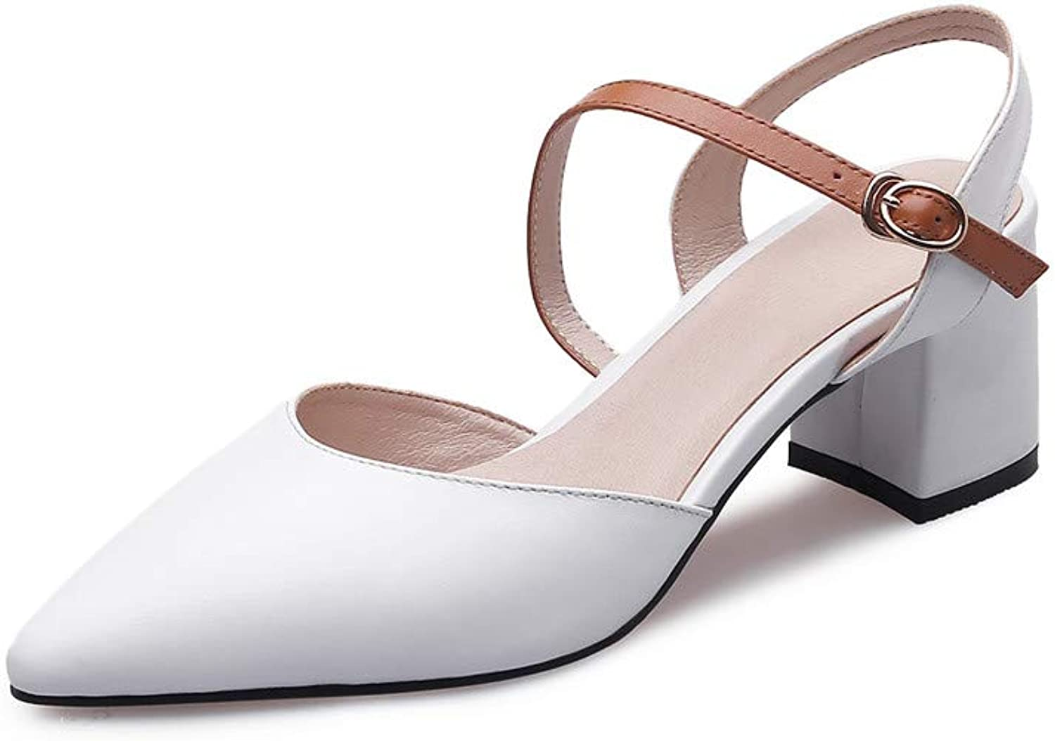 Nine Seven Genuine Leather Women's Pointed Toe Mid Chunky Heel Elegant Handmade Concise Buckle Sling Back Fashion Pumps