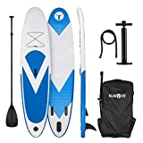KLAR FIT Spreestar - Tabla Hinchable de Surf de Remo, Tabla de Paddleboard, Tabla de Sup, 300 x 10 x 71 cm, Azul-Blanco