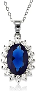 Sterling Silver Oval Created Sapphire/Tanzanite/Rainbow CZ Princess Diana/Kate Middleton Pendant 18