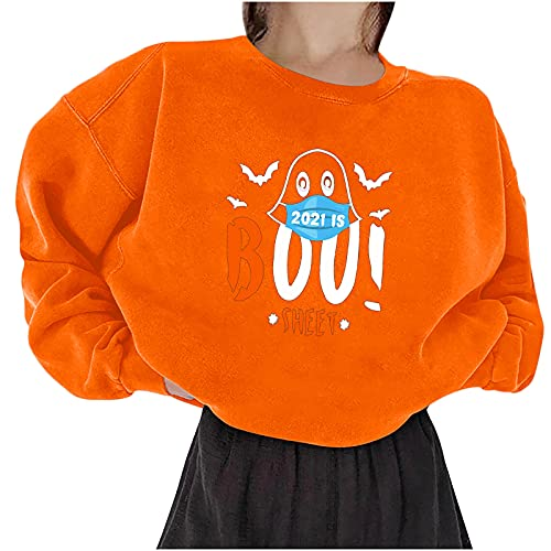 Bestyyo Calabaza manga larga suelta cuello redondo letra impresión suéter de manga larga Q90580, naranja, S