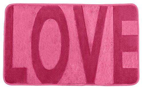 Wenko Memory Foam Love Mouse badmat, polyester, 80 x 50 x 1,5 cm 80 x 50 x 0.5 cm roze
