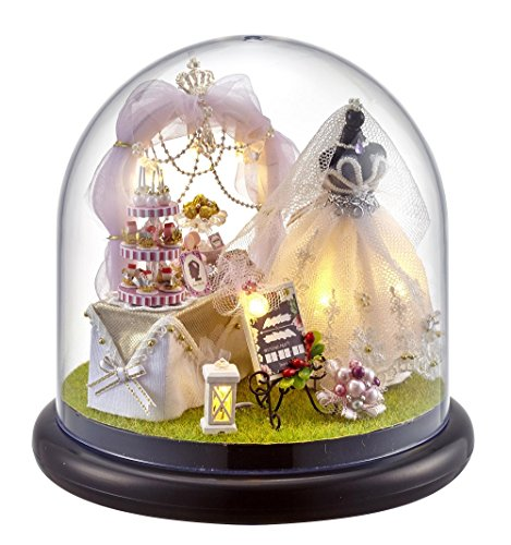 Lemogo Miniatur-Szene zum Basteln mit Kunststoffkuppel, Hochzeits-Zubehör und Möbel
