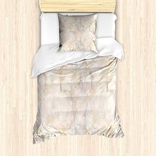 ABAKUHAUS Marmor Bettbezug Set für Einzelbetten, Rissig Rosa Pfirsich Farben, Milbensicher Allergiker geeignet mit Kissenbezug, Beige Schamesröte und Heller Pfirsich