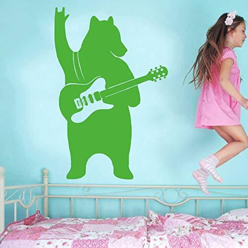 YuanMinglu Künstler Dekoration bär gürtel Gitarre Musik spaß Tier Aufkleber Hause wandaufkleber Vinyl Schlafzimmer haushaltsgegenstände Dekoration grün 38X57 cm