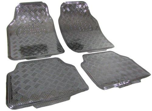 Tenzo-R 16062 Auto Gummi Fußmatten universal Alu Riffelblech Optik chrom Carbon