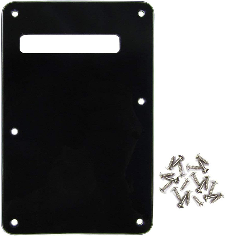 IKN 3Ply Black Strat SQ Style Guitar Cavity Cover Tremolo Back Plate w  25 Screws