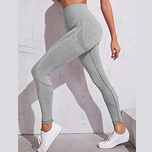 MLLM Ideal para Danza Correr Trotar Ejercicio,Pantalones de Yoga de Cadera de Miel Sexy, Pantalones de chándal Secos de Alta Velocidad de Cintura-Gris_S,Ideal para Yoga y Cualquier Deporte Pantalon