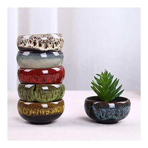 Mini Bonsai Flores de jardín de Mimbre vasijas de cerámica plantaron macetas Decorativas de Escritorio macetas Decorativas CERAM Molde (Color : 5pc Random Color, Sheet Size : S)