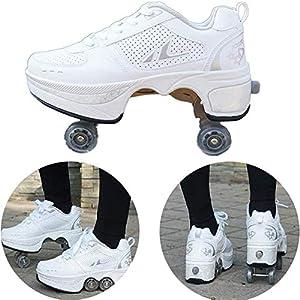 MLyzhe Adulto Patines Patines En Línea 4 Ruedas Ajustable Patio Botas para Niños Niñas Universal Caminando Zapatos Casual Deformación Zapatillas,EU38(US7)