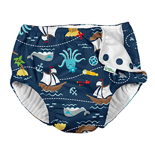 i play. by green sprouts Boys' Toddler Reusable Swim Diaper, Navy Pirate Ship, 3T