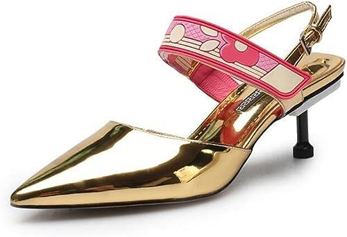 Femmes D'orsay Pointed-Toe Pump été Charhommet Slingback Sandales TemperaHommest cuir Velcro chaussures