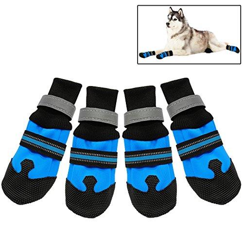 Legendog 4 Stks Hond Schoenen Waterdicht Wear Resistant Hond Laarzen Huisdier Schoenen met Reflecterende Zool voor Outdoor, M, Lake Blue M