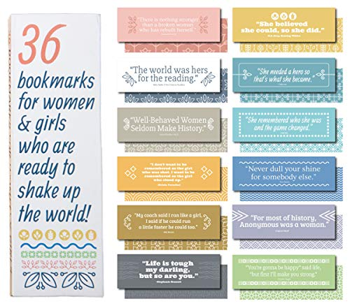 36-Pack of Paper Bookmarks for Women and Girls. This Bulk Set of Cool, Cute, Fun quotemarks Feature Inspirational, Motivational, and Unique Quotes. Each bookmarker is Made of The Best cardstock.