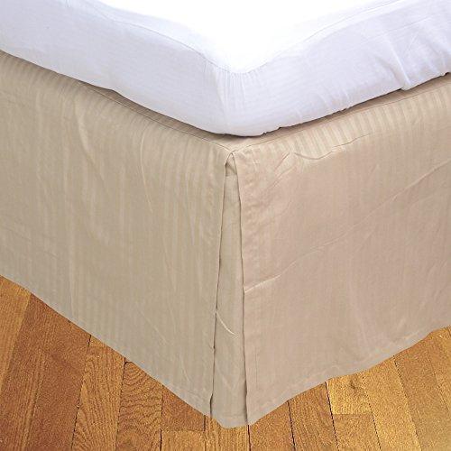 BudgetLinen Box Pleated Bed Skirt (Valance Sheet)(Oro Raya,Super King Size 180x200 cm (6' 6'' x 6'), Drop Length 40cm) 100% de algodón Egipcio 500 número de Hilos
