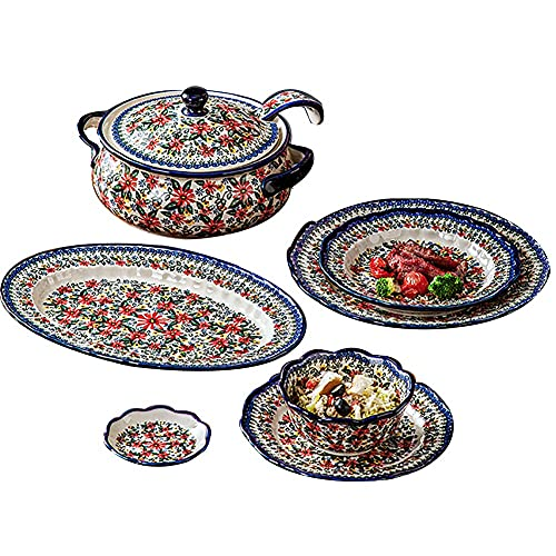 HGJINFANF Conjunto de vajillas de cerámica, Conjuntos de cenas de la Serie de Margaritas Rojas de Estilo Rojo de 6 Piezas, Placas de Borde Floral/tazones for familias