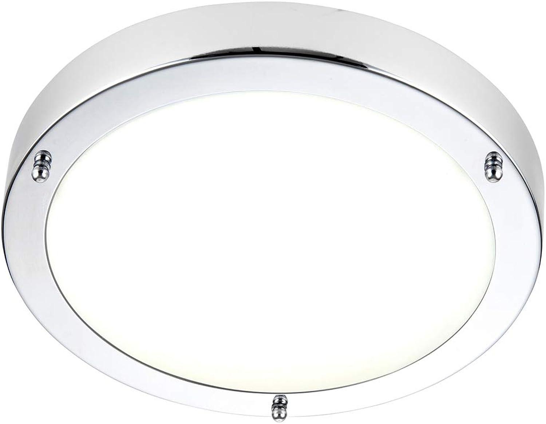 Badezimmerleuchte Deckenleuchte, 300 mm, IP44, Chromplatte & Milchglas, rund, modern, 9 W, Kaltwei LED & Treiberlampenhalter, Duschzone, spritzwassergeschützt