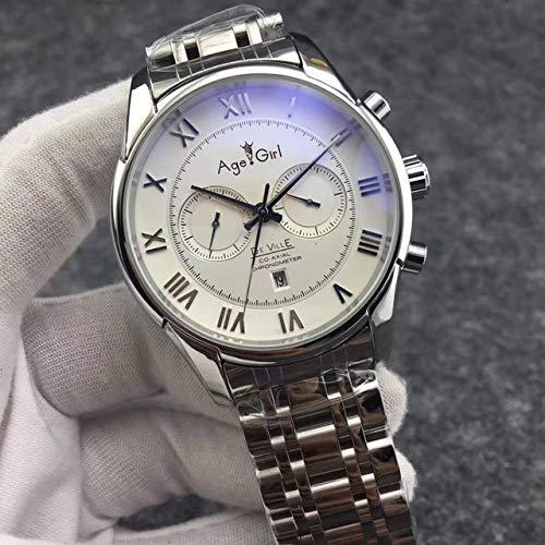 GFDSA Automatische horloges Luxe merk Heren Automatisch mechanisch horloge Staal Zilver Leer Zwart Blauw Multifunctionele kalender Saffier Rome Transparant