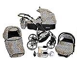 Allivio - Sistema de viaje 3 en 1, silla de paseo, carrito con capazo y silla de coche, RUEDAS GIRATORIAS y accesorios (Sistema de viaje 3 en 1, leopardo)
