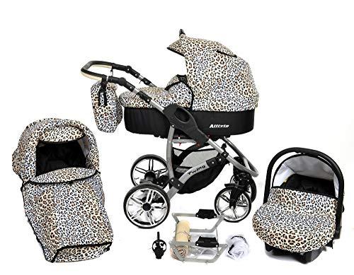 Allivio - 3 in 1 Reisesystem einschließlich Kinderwagen mit schwenkbaren Rädern, Kinderautositz, Buggy und Zubehör (3 in 1 Reisesystem, Schwarz und Leopard)