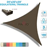 Patio Paradise 20' x 20' x 20' Brown Sun Shade Sail Triangle Canopy, 180 GSM Permeable Canopy Pergolas Top Cover, Permeable UV Block Fabric Durable Outdoor, Customized Available