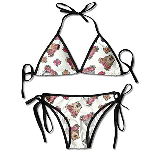 Rose Flower French Bulldog Dog Cute Funny White Fawn Women's Sexy Halter Top Bikini Swimsuit Two Piece Bathing Suits Novelty Themed Printed