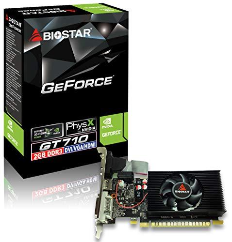 Tarjeta GRÁFICA BIOSTAR GEFORCE GT710 LP - 2GB DDR3 - 954 MHz - PCI 2.0 - HDMI - DVI - VGA - Compatible Perfil BAJO