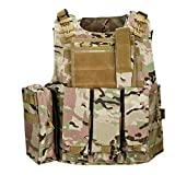 QHIU Gilet Tactique Camouflage Militaire Assaut Combat Protection Molle Veste pour Airsoft Paintball...