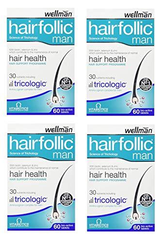 Vitabiotics Wellman Hairfollic Man - 60 Tablets (Pack of 4)