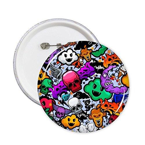 Graffiti Street Kultur Colorful Cloud Totenkopf Affe Eis Boom American Art Illustration Muster Rund Pins Badge Button Kleidung Dekoration 5x M